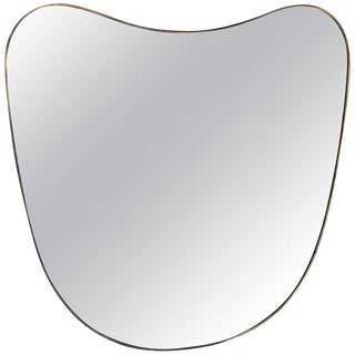 1950s Oversized Italian Minimal Curvilinear Brass Mirror For Sale