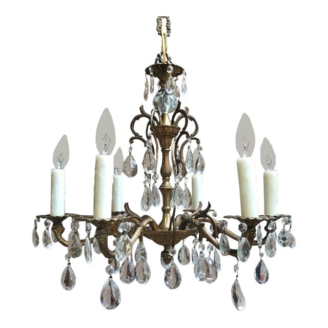 Vintage Six Light French Brass and Crystal Chandelier For Sale