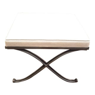 Raymond Subes Stool With a Refined Wrought Iron X Base For Sale