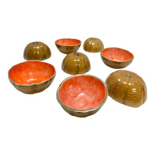 Vintage Cantaloupe Ceramic Bowls - Set of 8 For Sale