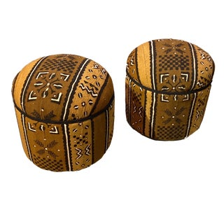 Custom Made Pair of Ottomans Upholstered with Mud Cloth For Sale