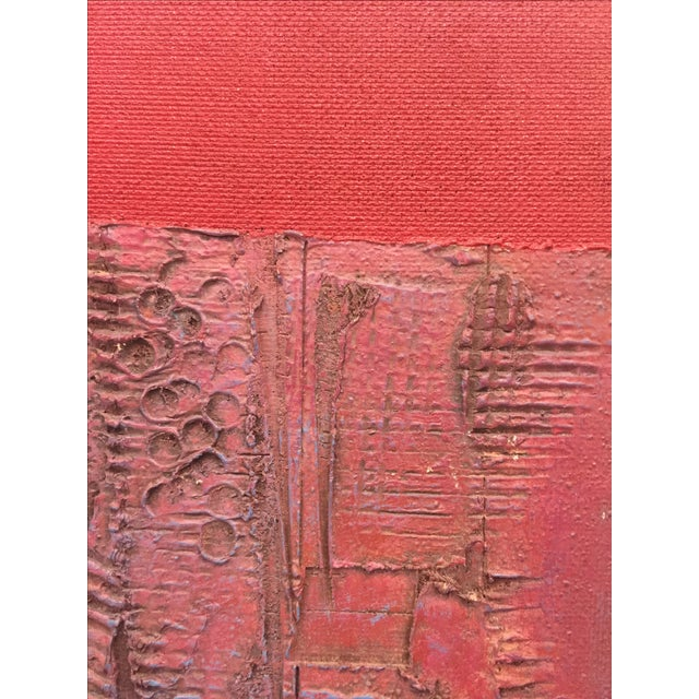 Pink & Red Brutalist Abstract Mid Century Painting - Image 3 of 6