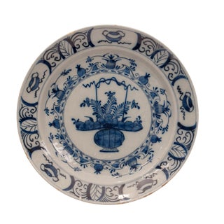 Antique Delft Pottery Charger Circa 17th - 18th Century For Sale