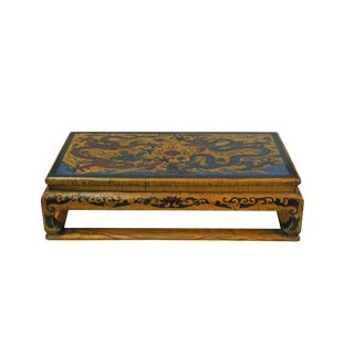 Chinese Distressed Yellow Lacquer Rectangular Wood Stand Display For Sale