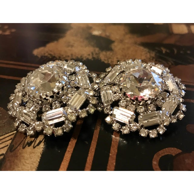 1960s 1960s Crystal Cocktail Clip-Back Earrings For Sale - Image 5 of 6