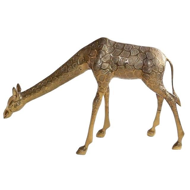 Vintage Cast Bronze Giraffe Medium Sized Sculpture For Sale