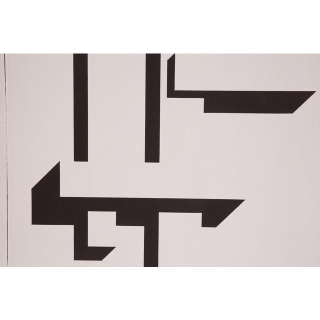 Paint Patrick Mather Hard-Edge Black and White Acrylic Paintings - a Pair For Sale - Image 7 of 10