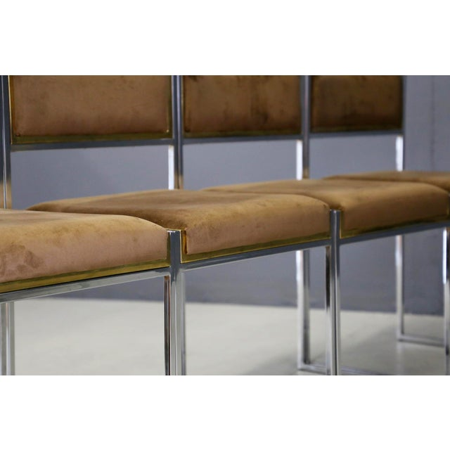 Gold Willy Rizzo Set of Six MidCentury Chair in Brass and Chamois, 1960s For Sale - Image 8 of 9
