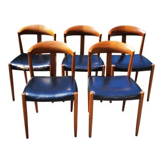 Knud Andersen for Jac Jensen Mid Century Modern Teak & Leather Dining Chairs- Set of 5 For Sale