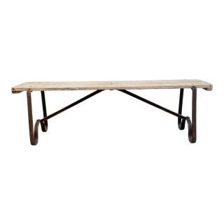 Vintage Weathered Teak Wood Bench With Metal Legs For Sale