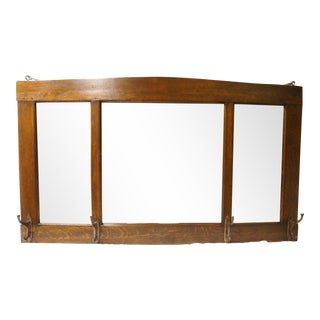 Arts and Crafts Style Wall Mirror With Coat Hooks