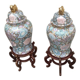 Vintage Asian Style Lidded Vases - a Pair For Sale