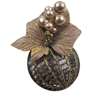 Cilea Paris Floral Gray Resin Talosel Pin Brooch With Purple Pearl For Sale