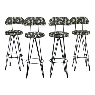 Mid Century Modern Hairpin Iron Swivel Bar Stools Frederick Weinberg - Set of 4 For Sale