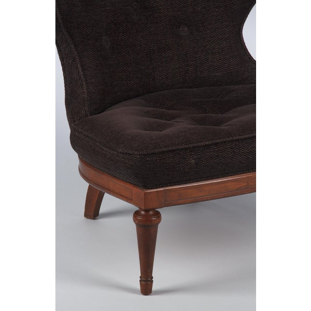 1960s Hollywood Regency Crest-Back Button-Tufted Chair For Sale In Austin - Image 6 of 13