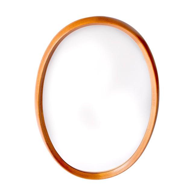 Very Large Oval Danish Modern Mirror in Two-Tone Teak by Pedersen & Hansen, 1960's For Sale