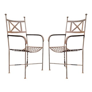 Pair Vintage Neoclassical Regency Style Iron X Form Stretcher Garden Arm Chairs For Sale