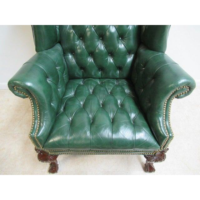 Vintage Chesterfield Style Tufted Ball & Claw Chippendale Wingback Chair - Image 6 of 11