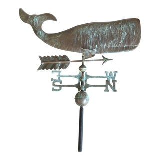 Patinated Antique Copper Whale Weathervane For Sale