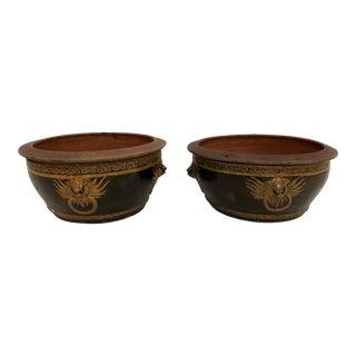 20th Century Terra-Cotta Dragon Bowl Planters - a Pair For Sale