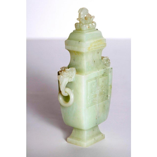 Asian Late 19th / Early 20th Century Pale Celadon Jade Vase & Cover, China, Qing Dynasty For Sale - Image 3 of 13