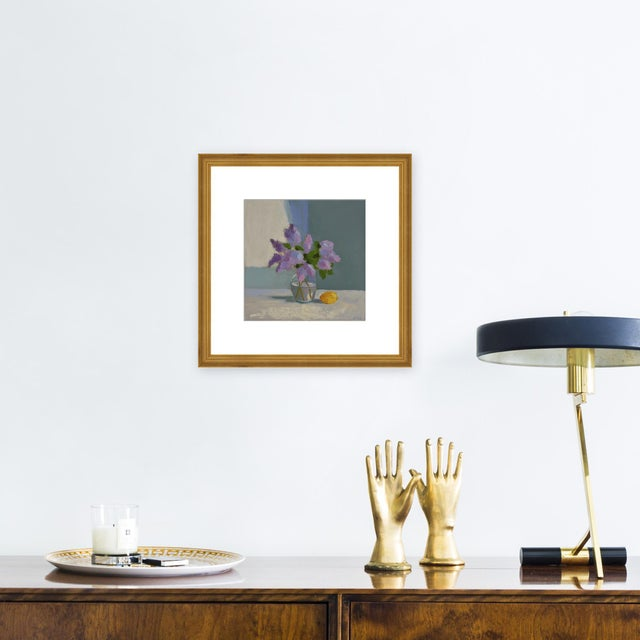 """Giclée on textured fine art paper with gold frame and 2.5"""" white mat. Unframed print dimensions: 12.5"""" x 12.5"""". Anne..."""