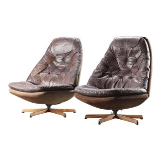 1960s Danish Leather Swivel Chairs by Madsen & Schubell - a Pair For Sale