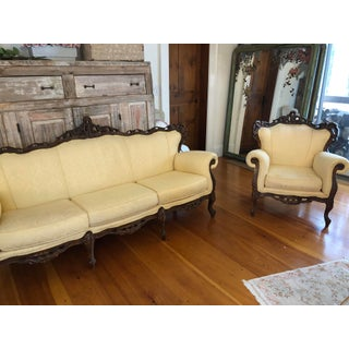 Antique Black Forest Wood Victorian Parlor Sofa and Chair - a Pair Preview