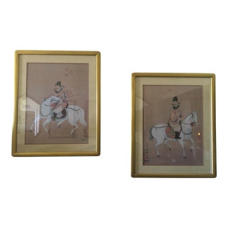 Mid 20th Century Chinese Warrior Paintings - a Pair For Sale