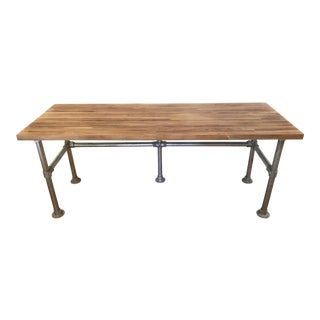 Industrial Walnut & Steel Writing Desk For Sale