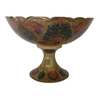 1970s Vintage Brass and Enamel Pedestal Bowl For Sale