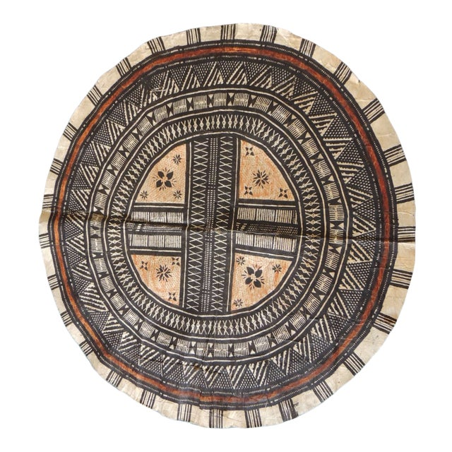 Vintage Large African Tribal Round Decorative Painted Paper Art For Sale