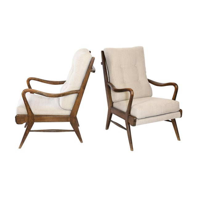 Pair of Mid-Century Modern Armchairs, Newly Upholstered For Sale - Image 9 of 9