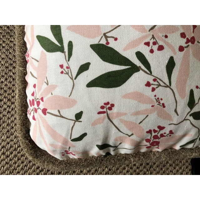 """Traditional Custom Bolster Pillow of Block and Brayer """"Mountain Laurel"""" With Wooly Fringe For Sale - Image 3 of 5"""