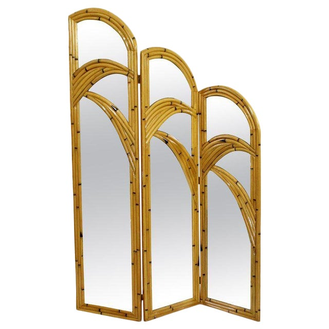 1970s Mid-Century Modern 3 Panel Rattan and Mirror Folding Screen Room Divider For Sale
