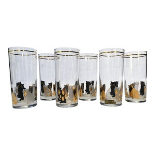Mid-Century Modern Culver Lt. Gold Cat High Ball Ice Tea Glasses - Set of 6