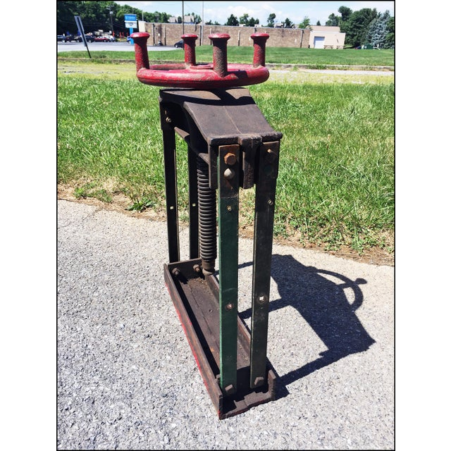Red Vintage Industrial W.O. Hickok Keystone Cider Mill Apple Press For Sale - Image 8 of 11