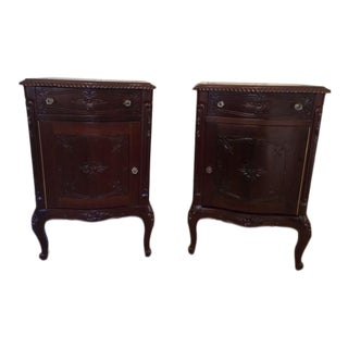 French Hand Carved Solid Mahogany Nightstands - a Pair For Sale