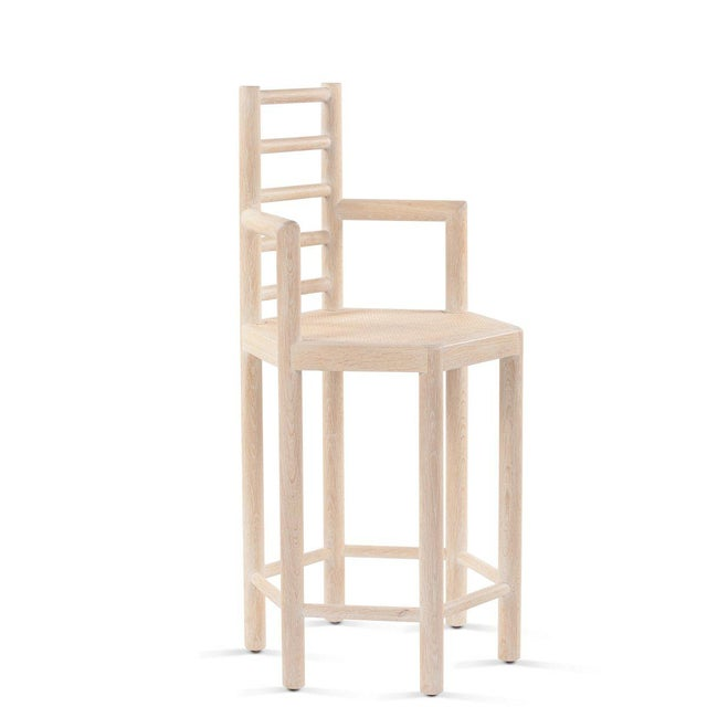 Not Yet Made - Made To Order Tamarisk Counter Stool in Whitewashed Oak For Sale - Image 5 of 5