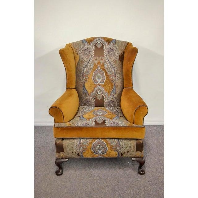 Paisley Velvet Wingback Chair For Sale - Image 4 of 4