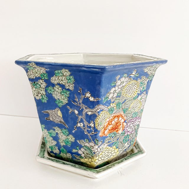 Chinoiserie Blue Cherry Blossom and Birds Planter With Saucer For Sale - Image 10 of 10