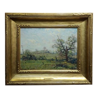 Henry Ward Ranger- Farm Landscape W/ Wooden Fence - Oil Painting For Sale