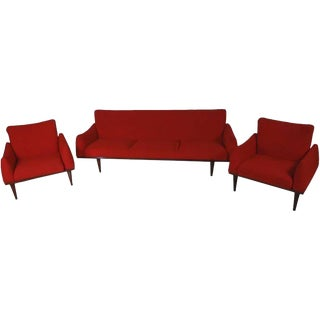 Mid-Century Illum Wikkelsø Sofa and Chair Living Room Suite For Sale