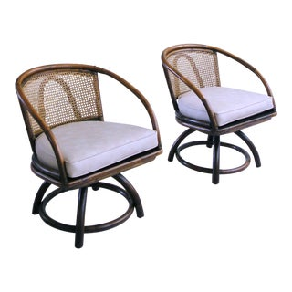 Mid-Century Cane Back Rattan Swivel Chairs - A Pair