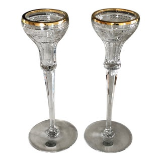"Late 20th Century Gorham Crystal ""Patrician"" Candlesticks - a Pair For Sale"
