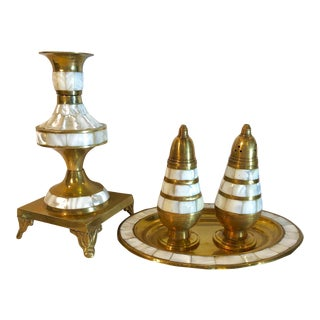 1950s Vintage Brass and Mother of Pearl Inlaid Salt & Pepper Shakers Tray and Candle Holder - 4 Pieces For Sale