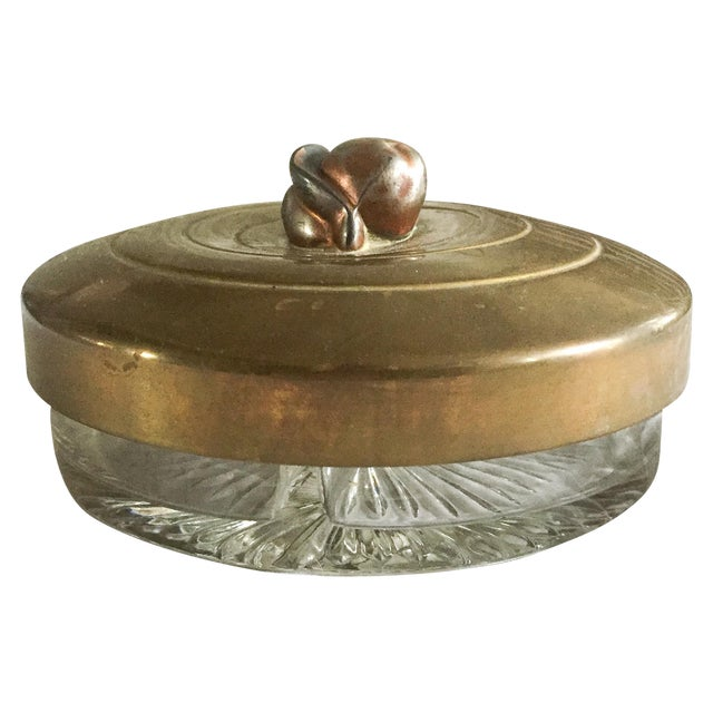 1930s Glass & Brass Covered Trinket Dish - Image 1 of 5