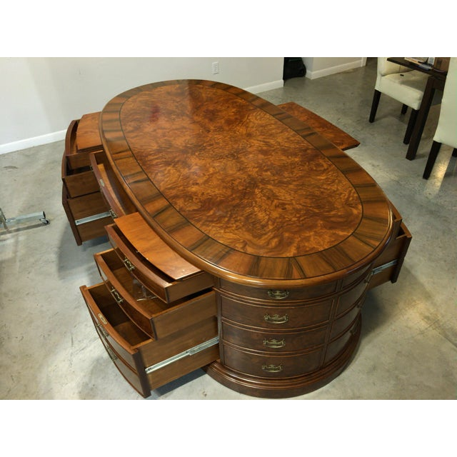 French Provincial Presidential Double Sided Desk - Image 7 of 11