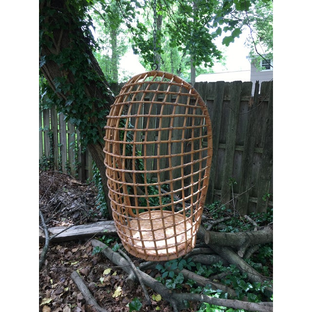 Franco Albini 1970s Vintage Rattan Hanging Chair For Sale - Image 4 of 11