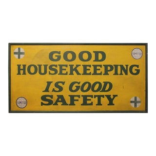 "1930s Hand-Painted ""Good Housekeeping"" Factory Wood Sign For Sale"